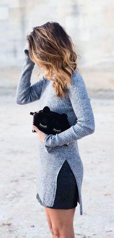 #fall #fashion / gray knit + noir