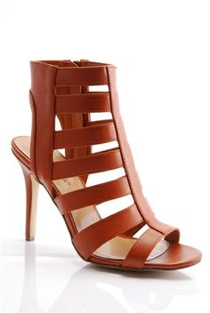 Rattle Some Cages Open Toe High Heel Gladiator Sandals - Tan from Breckelles at Lucky 21