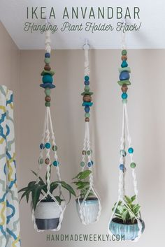 Tutorial for an IKEA ANVANDBAR Hanging Plant Holder Hack. Easily customize your IKEA plant holder with color. Fun Diy Crafts, Crafts To Sell, Ikea Plant Hanger, Ceiling Hangers, Ikea Plants, Ikea I, Stain Colors, Easy Paintings, Plant Holders