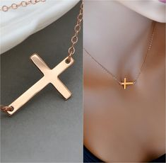 Check out SALE 10% Rose Gold Sideways Cross Necklace, Horizontal Cross, Kelly Ripa, Celebrity Inspired, Big Rose Gold Cross Necklace on malizbijoux