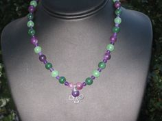 Purple and Green Rounds Necklace by BerrysBaubles on Etsy, $25.00