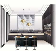 Best Home Decorating Websites Interior Design Renderings, Interior Sketch, Interior Design Studio, Interior Styling, Croquis Architecture, Interior Architecture, Home Decor Kitchen, Kitchen Interior, Furniture Showroom