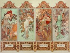 From left to right: Summer (Été), Spring (Printemps), Autumn(Automne), Winter(Hiver)  Alphonse Mucha,The Four Seasons(1896)
