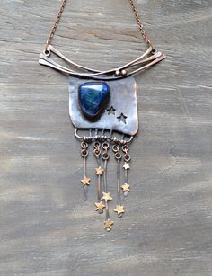 Dark blue necklace Starfall by TanyaKolyada on Etsy