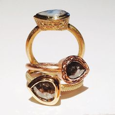 Trio of our gorgeous rings in 18ct yellow and rose gold set with unique rose cut diamonds with custom hand finishes #lucajouel #finejewellery #wadesigner #gemologist #australianjewellery #lovegold #love #unusualdiamonds #interesting #patterns and #rich #luxury #textures #perthbusiness #perthcreatives #theperthcollective #perthluxury #perthpop #jewellery_blog