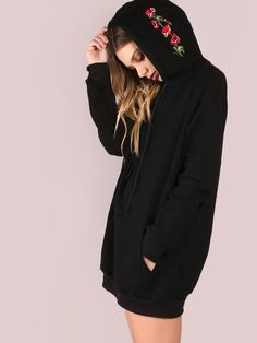 Shop Black Pocket Front Embroidered Hood Sweatshirt online. SheIn offers Black Pocket Front Embroidered Hood Sweatshirt & more to fit your fashionable needs.