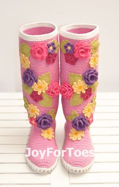 #Crochet #Boots for the #Street #Pink #Violet #Spring #Shoes by #JoyForToes
