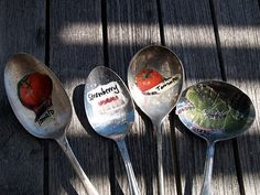Garden Markers out of old spoons, cut pictures out of magazines (or seed packs?), polyurethane the inside (or resin?). -via The Magic Onions