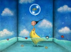 mujer con un pez relajand su mente