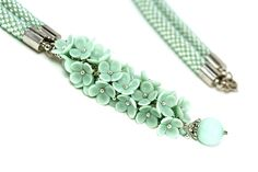 Hey, I found this really awesome Etsy listing at https://www.etsy.com/ca/listing/244054906/mint-floral-necklace-mint-rope-mint