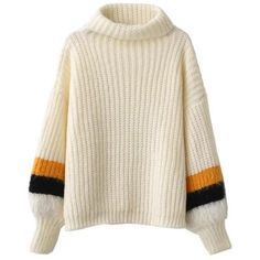 Striped Puff Sleeve Turtleneck Sweater (1,215 THB) ❤ liked on Polyvore featuring tops, sweaters, brown tops, puffed sleeve top, puff sleeve sweaters, turtleneck tops and stripe sweaters