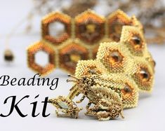 Austeja the Queen of Bees Beaded Bracelet Tutorial Beading | Etsy Wrap Bracelet Tutorial, Beaded Bracelets Tutorial, Beaded Wrap Bracelets, Earring Tutorial, Seed Bead Earrings, Seed Beads, Friendship Symbols, Beading Needles, Bead Kits