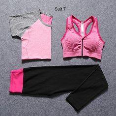 New Women Yoga Sport Suit Bra Set 3 Piece Female Short-sleeved Summer Sportswear Gym Running Workout Clothes