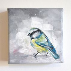 STUDIO SALE // Bluetit // Original Bird Animal Painting // Wall Art // Acrylic on Canvas. £75.00, via Etsy.