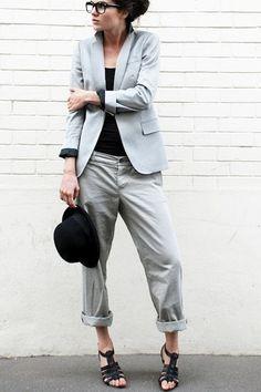What to Wear to Work: Soft Gray Blazer, Cuffed Chinos, Black Strappy Sandals