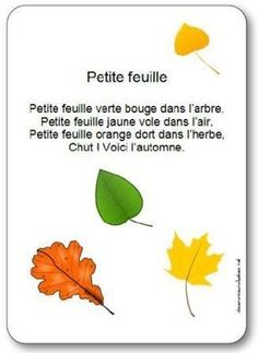 Comptine automne maternelle sur une petite feuille, comptine petite feuille… Nursery rhyme nursery rhyme on a small leaf nursery rhyme French Teacher, Teaching French, French Poems, Petite Section, Core French, French Classroom, French Resources, French Immersion, French Lessons