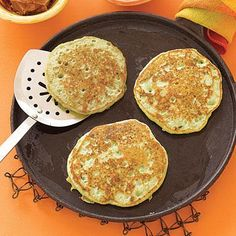 Try breakfast for dinner with savory pea pancakes. Serve scrambled or fried eggs on the side along with bacon.