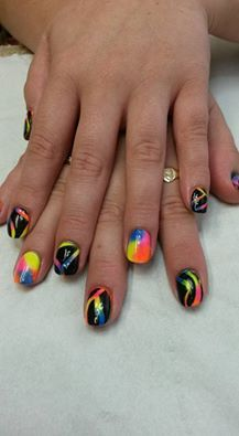 Wonderful nails designed by Julie Lynch - CND Shellac Blackpool carved to reveal #lecenté Neons underneath #nails #nailart #neons #lovelecente