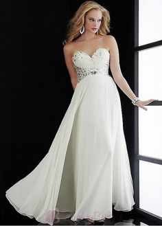 Classy Chiffon A-line Strapless Sweetheart Long White Prom Dress/Gown P1816 Prom Dress