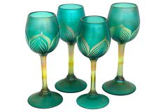Signed Glass Goblets, S/4 ,place inside Buffet Cabinet