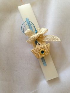 Lambada with traditional ceramic boat, Greek Easter candle