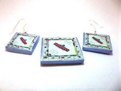 Classic Monopoly Board Game Polymer Clay Gaming Earrings. Handmade Custom Monopoly Jewelry. Silver Tone Drop Hook Dangle Earrings & Charm $7 via @Shopseen https://www.etsy.com/listing/164633503/classic-monopoly-board-game-polymer-clay