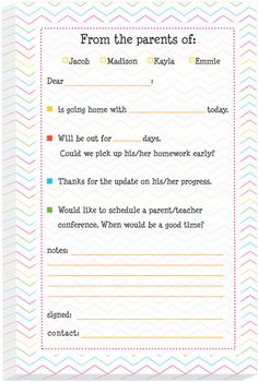 Fun Chevron Excuse Pad - personalized excuse notes are very convenient for sending notes to your child's school.