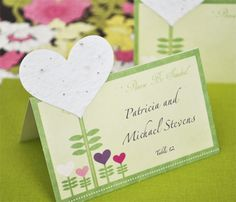 """""""Please Be Seeded"""" Heart Decorated Plantable Seed Place Cards"""