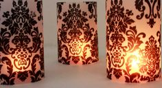Hey, I found this really awesome Etsy listing at http://www.etsy.com/listing/111759820/short-damask-wedding-luminaries-black