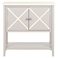 Grey poplar sideboard with a criss-cross design.   Product: SideboardConstruction Material: Poplar woodColor: Grey and whiteDimensions: 30.1 H x 29.1 W x 14.1 D