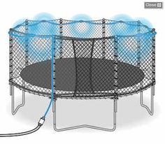 "Trampoline Misting system, what a great idea!  I bet this uses way less water than my kids do when they ""just spray it down""."