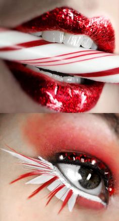 """Aptly named """"Peppermint"""" make-up with awesome red glitter lips and crystal and feather eyes."""