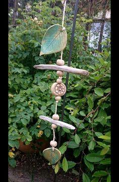 Gartendekoration - Windspiel Blätter Gartenkeramik Mat.Mix - ein Designerstück…