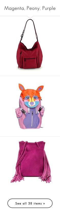 """Magenta, Peony, Purple"" by lorika-borika on Polyvore featuring bags, handbags, shoulder bags, cranberry, white hobo handbags, leather handbags, leather hobo shoulder bag, white shoulder bag, hobo handbags и backpacks"