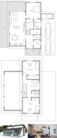 Popular small house plan. Suits well to small lot. Nice open areas. Two living areas and three bedrooms. Floor  Plan from ConceptHome.com