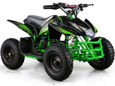 24v Mini Quad Titan v5 By MotoTec | Black/Green Side View