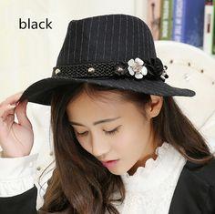 Womens flower panama hat striped pattern fashion winter hats