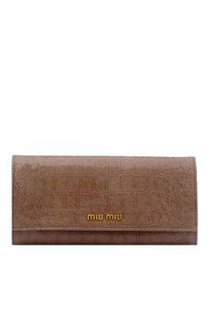Long Croco Print Wallet (Powder) from Miu Miu on Brandsfever