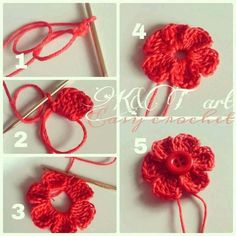 """""""The difference is in the details"""": Easy crochet: Flowers bows Size 1 - mm hook Begin with a magic circle [ Chain work 6 tr, ch sl st into the ring] Repeat sequence in [ ] to form 6 petals. Pull yarn tail to tighten the loop, end off. weave in ends. Crochet Diy, Crochet Simple, Crochet Motifs, Crochet Flower Patterns, Love Crochet, Crochet Crafts, Crochet Projects, Knitting Patterns, Confection Au Crochet"""