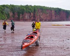 Kayaking the world's highest tides in the Bay of Fundy - Thankfully wheels were provided for our return at low tide