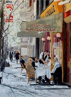 An old watercolor painting I did of the restaurant La Goulue. They have sinced closed this location but it was a great place.
