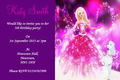 PURPLE BARBIE PERSONALISED CHILDREN S PARTY INVITATIONS Please use the text box above to personalise your invitations Please enter the