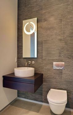Desire a half bathroom that will impress your guests when amusing? Update your bathroom design in a snap with these inexpensive, charming half bathroom ideas. Contemporary Bathrooms, Modern Bathroom, Bathroom Grey, Vanity Bathroom, Office Bathroom, Mirror Vanity, Kitchen Office, Vanity Cabinet, Bathroom Interior Design