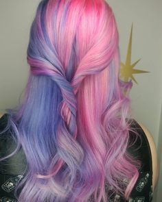 half and half pastel pink and purple hair