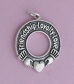 """Oxidized Sterling Silver Charm, FRIENDSHIP LOYALTY LOVE Claddaugh, 2.2 grams, 7/8 inch"""
