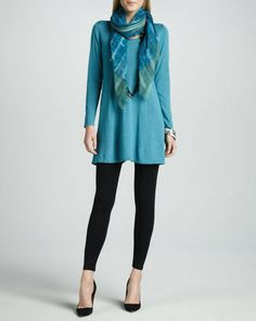 Eileen Fisher Easy A Merino Wool Long-Sleeve Tunic, Petite on shopstyle.com