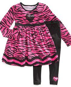 Flapdoodles Kids Set, Little Girls Zebra Dress & Leggings - Kids Girls 2-6X - Macy's