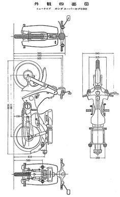 外観四面図 C90 Honda, Honda Cub, Scooter Custom, Custom Bikes, Car Top View, Three Wheel Bicycle, Mt Bike, Bike Drawing, Bike Details
