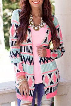 Trendy Collarless Long Sleeve Geometric Print Women's Cardigan Sweaters & Cardigans | RoseGal.com Mobile