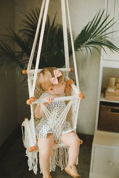 Macrame Baby Swing Chair Hammock – Kinderzimmer Dekor / Spielzimmer Dekor – Handmade in Nicaragua – Adelisa & … Baby Boy Rooms, Baby Boy Nurseries, Baby Cribs, Room Baby, Baby Bassinet, Nursery Room, Nursery Ideas, Room Ideas, Girl Nursery